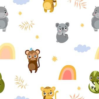 Joli motif avec des animaux