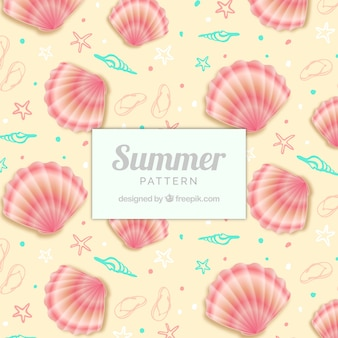 Joli motif d'été avec des coquilles