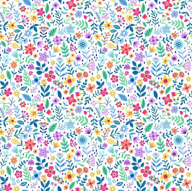 Joli motif floral dans les petites fleurs colorées texture vectorielle continue fond blanc ditsy