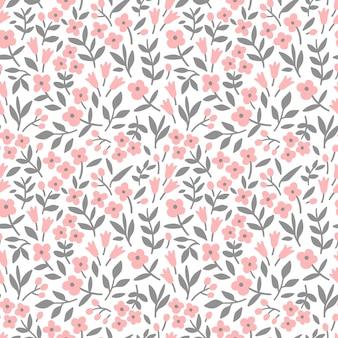 Joli motif floral dans les petites fleurs roses texture vectorielle continue fond blanc
