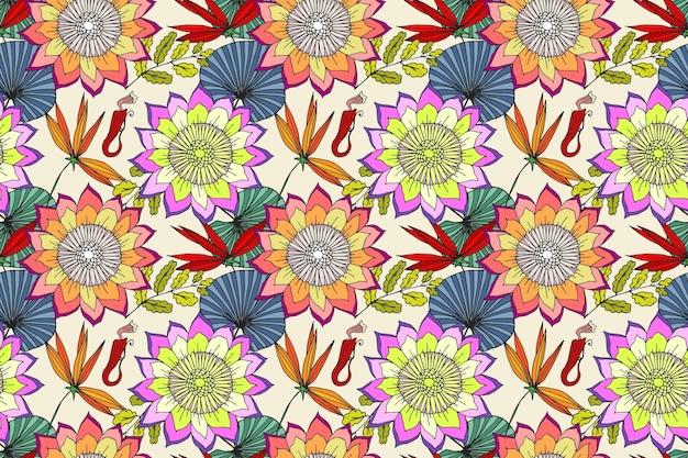 Joli motif floral exotique peint à la main