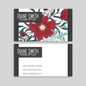 Joli motif floral modèle de conception de carte de visite carte de visite