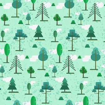 Joli motif de forêt texturé plat printemps ou été