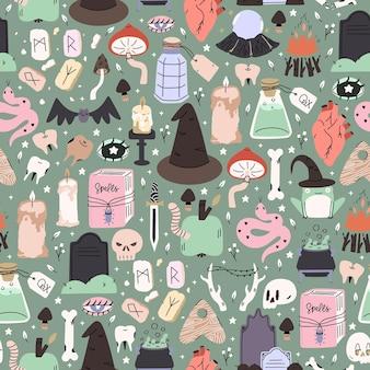 Joli motif d'halloween illustré. arrière-plan répété sans couture. papier peint, tissu, conception de papier de scrapbooking.