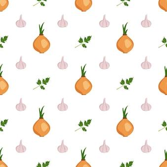Joli motif harmonieux d'ail, d'oignon et d'herbes de persil, impression de récolte de légumes en été ou en automne