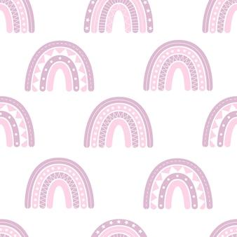 Joli motif harmonieux d'arcs-en-ciel boho, décor de pépinière, imprimé pour vêtements de bébé, papier peint. illustration vectorielle dans un style plat