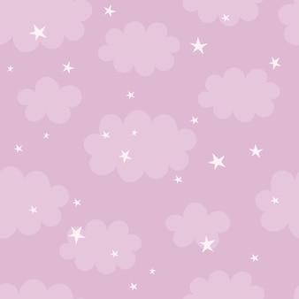 Joli motif harmonieux d'étoiles et de nuages, décor de pépinière, imprimé pour vêtements de bébé, papier peint. illustration vectorielle dans un style plat
