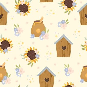 Joli motif de miel avec des fleurs