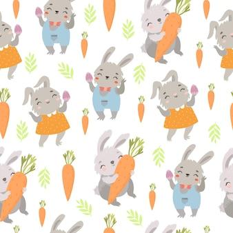 Joli motif de pâques avec des lapins et des carottes