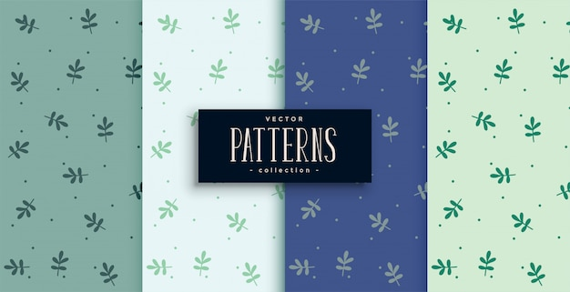Joli motif de petites feuilles en quatre couleurs