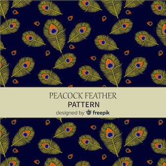 Joli motif de plumes de paon aquarelle