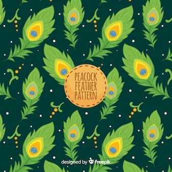 Joli motif de plumes de paon au design plat