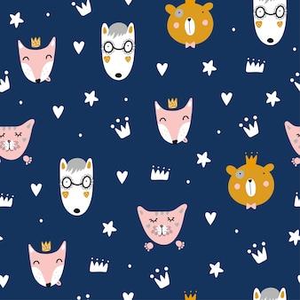 Joli motif scandinave sans couture avec des animaux