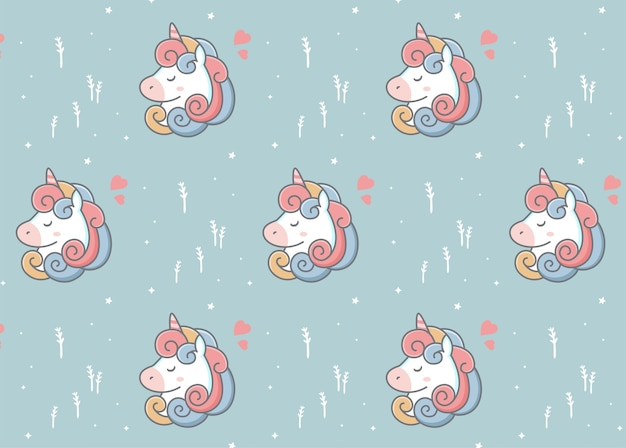 Joli motif de tête de licorne blanche