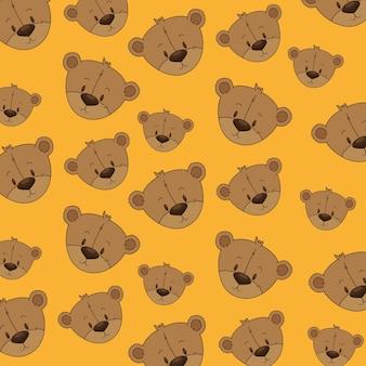 Joli motif de têtes d'ours en peluche