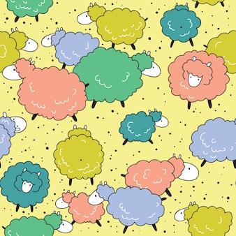 Joli motif transparent coloré avec des moutons drôles.