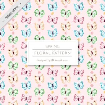 Joli motif vintage de papillons et de fleurs