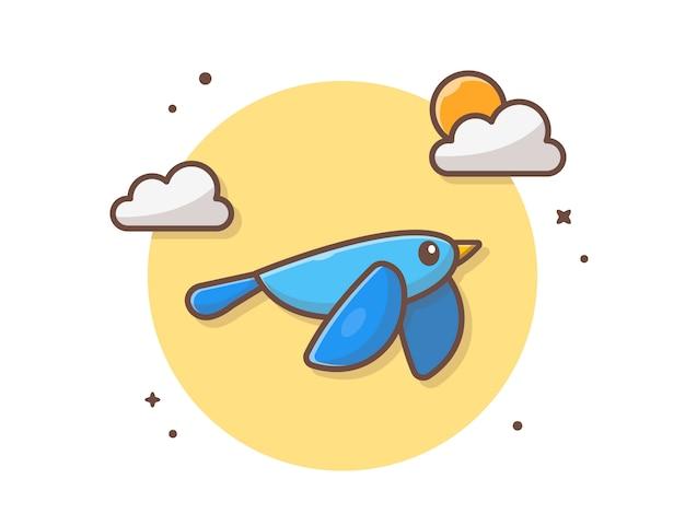 Joli oiseau bleu volant avec nuages et soleil icône illustration