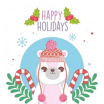 Joli ours polaire avec chapeau et pull cannes de bonbon joyeux noël