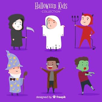 Joli pack de personnages d'enfants d'halloween