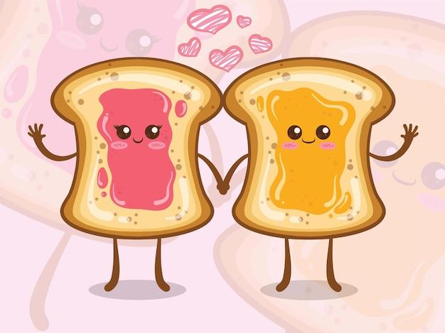 Le joli pain blanc recouvert de confiture dit bonjour. personnages de dessins animés.
