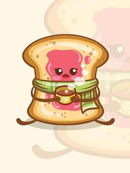 Le joli pain blanc recouvert de confiture tenant une tasse de café. personnage de dessin animé.