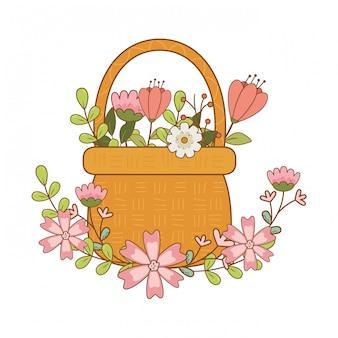 Joli panier paille avec jardin de fleurs