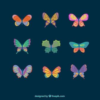 Joli paquet de papillons colorés avec de grands desseins