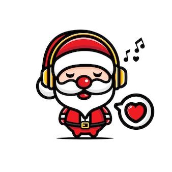 Joli père noël écoutant de la musique