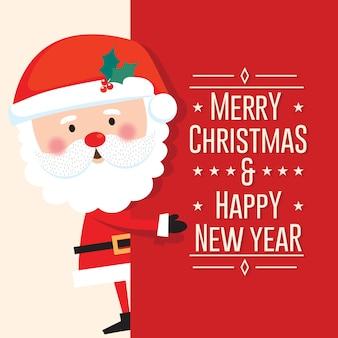 Joli père noël avec joyeux noël et bonne année lettre sur fond rouge