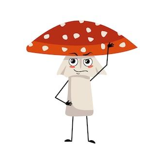 Joli personnage d'amanite avec les émotions d'un héros un visage courageux, les bras et les jambes volent le champignon agaric de f...
