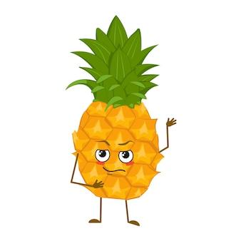Joli personnage d'ananas avec des émotions face aux bras et aux jambes