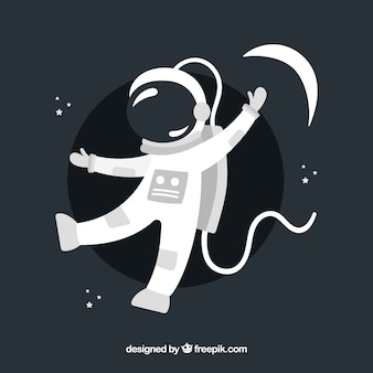 Joli personnage d'astronaute au design plat