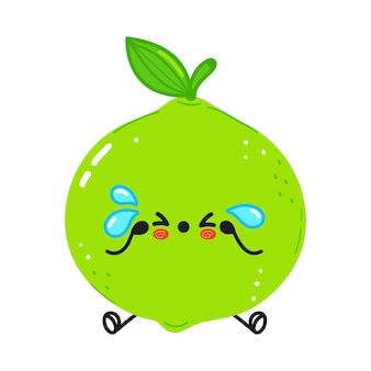 Joli personnage de citron vert triste et pleurant