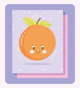 Joli Personnage De Dessin Animé De Nutrition Alimentaire Fruits Agrumes Orange Illustration Vectorielle Vecteur Premium