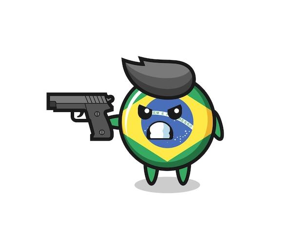 Le joli personnage d'insigne du drapeau brésilien tire avec une arme à feu, un design de style mignon pour un t-shirt, un autocollant, un élément de logo