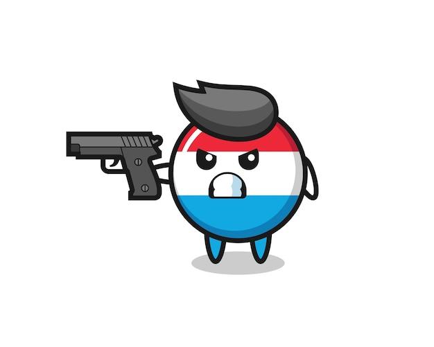 Le joli personnage d'insigne du drapeau luxembourgeois tire avec une arme à feu, un design de style mignon pour un t-shirt, un autocollant, un élément de logo