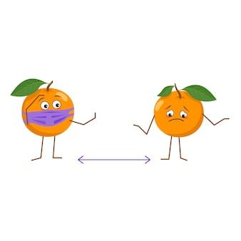 Joli personnage orange avec masque garder la distance isolé sur fond blanc. le héros drôle ou triste, fruit et légume lumineux avec masque. télévision illustration vectorielle