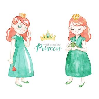 Joli personnage de princesse aquarelle