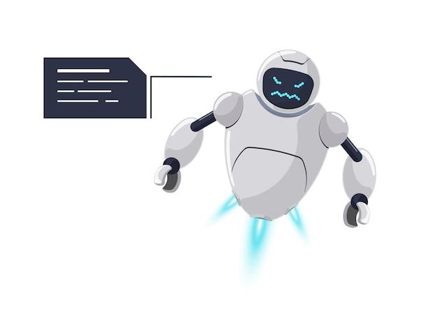 Joli personnage de robot volant blanc en colère. mascotte de chatbot futuriste furieuse avec bulle de dialogue. problème de communication de bot maléfique en ligne de dessin animé technique. l'assistance robotique de l'ia parle d'émotion de rage. eps vectoriel