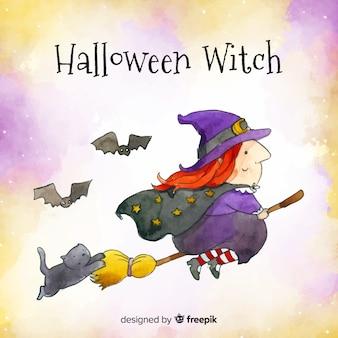 Joli personnage de sorcière aquarelle