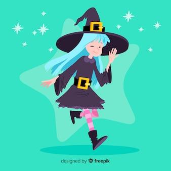 Joli personnage de sorcière au design plat