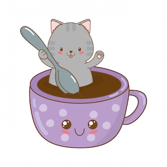 Joli petit chat avec une tasse en chocolat, personnage kawaii