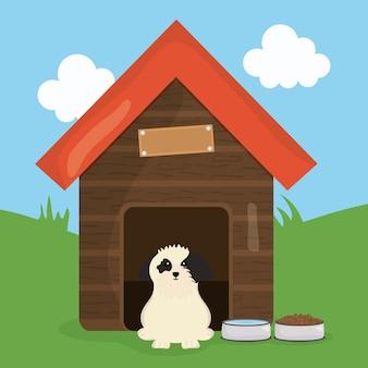 Joli petit chien dans un personnage de maison en bois