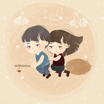 Joli petit couple avec balai d'amour