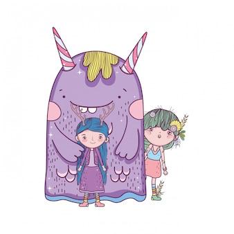 Joli petit couple de fées avec monstre
