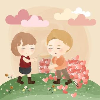 Joli petit couple avec pot d'amour
