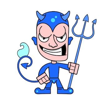 Joli petit diable avec des cornes et un trident enflammé