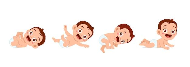 Joli petit garçon dans l'ensemble de progression du cycle de croissance