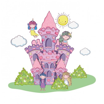 Joli petit groupe de fées dans le château